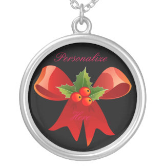 Red Ribbon Holly  Thunder_Cove Silver Plated Necklace