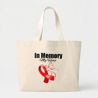 Red Ribbon In Memory of My Hero Jumbo Tote Bag