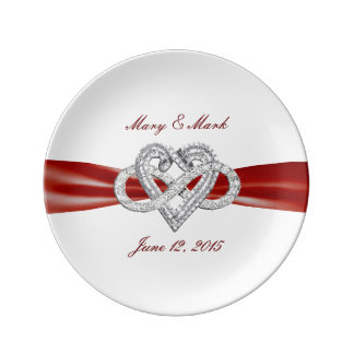 "Red Ribbon Infinity Heart 8.5"" Porcelain Plate"