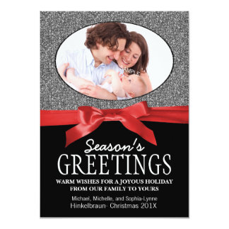 Red Ribbon Oval Holiday Photo 4.5x6.25 Paper Invitation Card