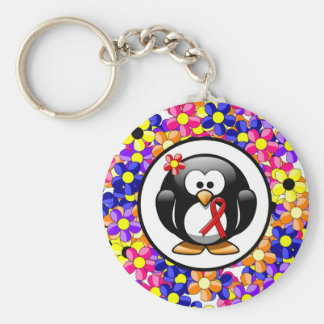 Red Ribbon Penguin Basic Round Button Key Ring