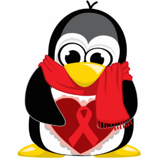 Red Ribbon Penguin Scarf Photo Sculpture