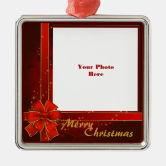 Red Ribbon Photo Frame Silver-Colored Square Decoration
