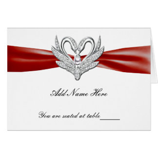 Red Ribbon Silver Swans Folded Table Place Card
