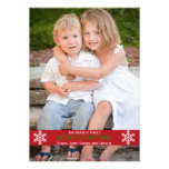 Red Ribbon Snowflake Christmas Card Personalized Announcement