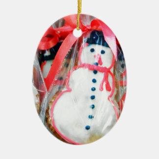 Red Ribbon Snowman Ceramic Oval Decoration