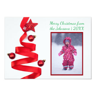 Red Ribbon Tree with Photo - Christmas Card