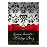 RED RIBBON WHITE BLACK  DAMASK HOLIDAY PARTY Ruby 13 Cm X 18 Cm Invitation Card