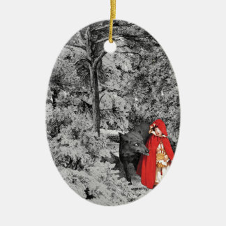 Red Riding Hood and the Wolf (BW) Ceramic Oval Decoration
