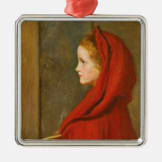 Red Riding Hood by Millais Silver-Colored Square Decoration