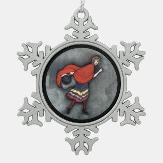 Red Riding Hood c1920 Pewter Snowflake Decoration