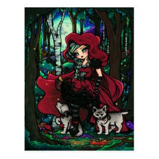 Red Riding Hood Fairytale Art Postcard