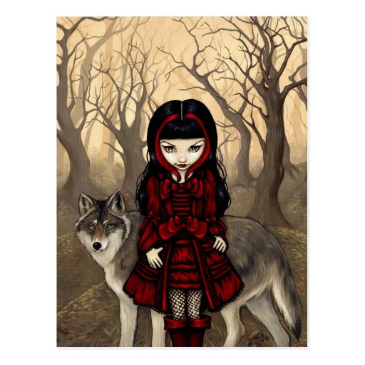 """""""Red Riding Hood in Autumn"""" Postcard"""