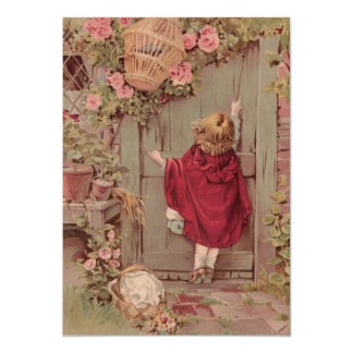 Red Riding Hood Knocks on the Door 13 Cm X 18 Cm Invitation Card