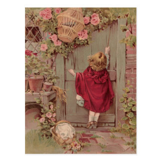 Red Riding Hood Knocks on the Door Postcard