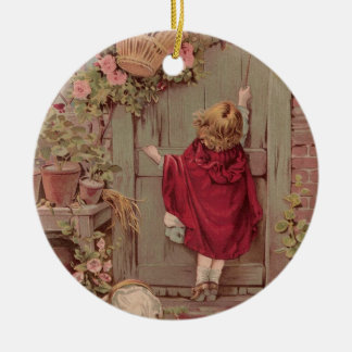 Red Riding Hood Knocks on the Door Round Ceramic Decoration