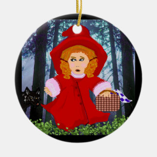Red Riding Hood Round Ceramic Decoration