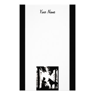 Red Riding Hood Wolf in Black Silhouette on white Custom Stationery