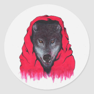 Red Riding Wolf (Stickers) Classic Round Sticker