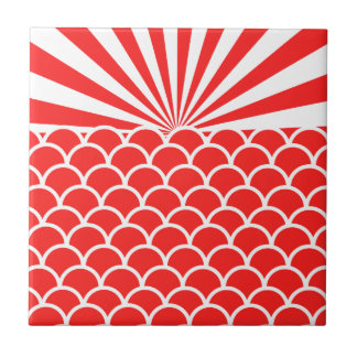 Red Rising Sun Japanese inspired pattern Tile