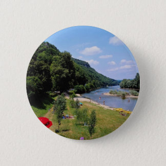 Red River Dordogne with cafe, France flowers 6 Cm Round Badge