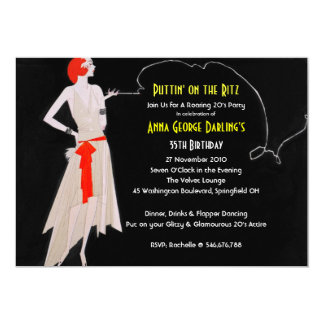 Red Roaring 20's - Flapper Party Invitations