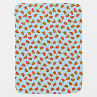 Red Robin Christmas on pale blue art Buggy Blankets