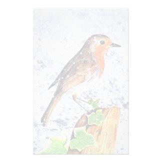 Red robin in the snow art custom stationery