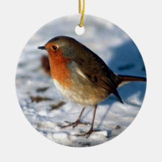 Red Robin in the snow Christmas Ornament