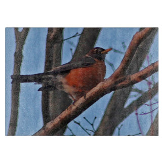 Red Robin in the Winter Maple Tree Cutting Board