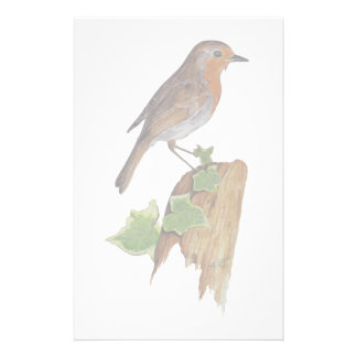 Red robin on wooden post personalised stationery