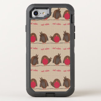 Red Robin Pattern OtterBox Defender iPhone 8/7 Case