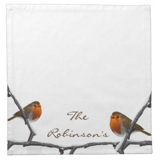 Red Robins Custom Family Name Cloth Napkins