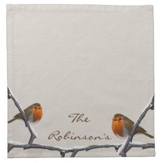 "Red Robins Custom Name Cloth Napkin 12"" x 12"""