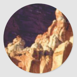 red rock formations in stone classic round sticker