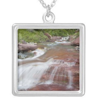 Red rock in Baring Creek in Glacier National Square Pendant Necklace