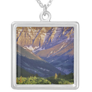 Red Rock Road in Waterton Lakes National Park Square Pendant Necklace
