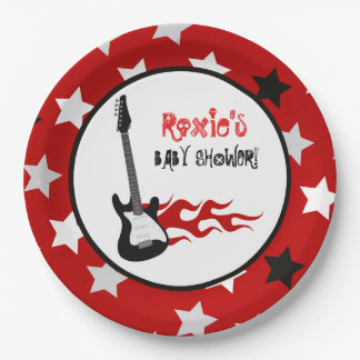 Red Rock Star Rock-a-Bye Paper Plates 9 Inch Paper Plate