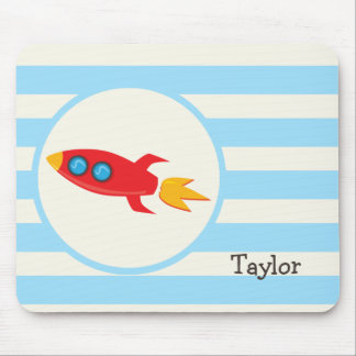 Red Rocket Space Ship; Light Blue Stripes Mouse Pads