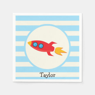 Red Rocket Space Ship; Light Blue Stripes Paper Napkin