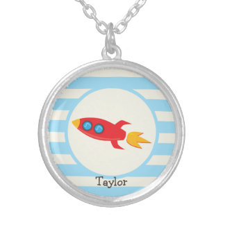 Red Rocket Space Ship; Light Blue Stripes Silver Plated Necklace