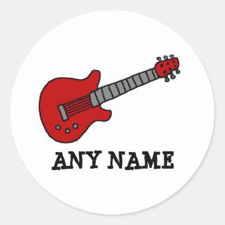 Red Rockin Guitar Round Stickers