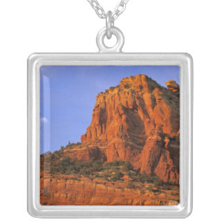 Red Rocks at Sterling Canyon in Sedona Arizona Square Pendant Necklace