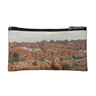 Red Rocks Surround a Lake in Arizona Travel Cosmetic Bag