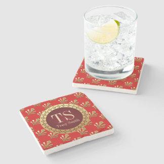 Red Roman Monogram Stone Beverage Coaster