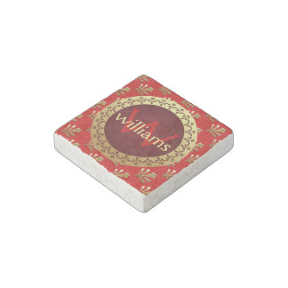 Red Roman Monogram Stone Magnet