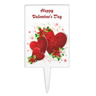 Red Romance Hearts Valentine Cake Topper