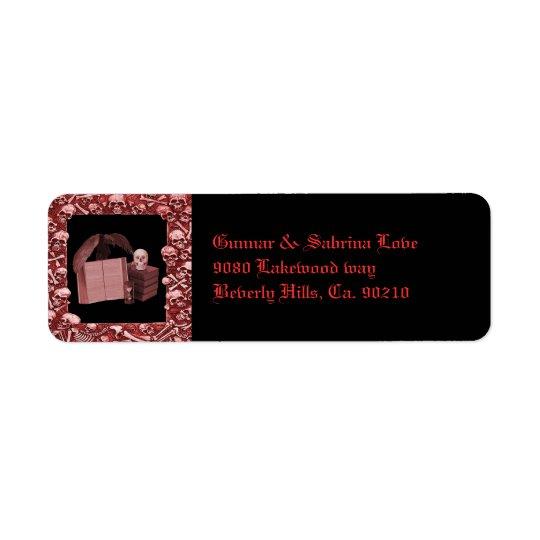 Red Romance Skull Spellbook Wedding Return Address Label