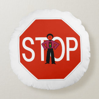 Red Ron Stop Sign Round Cushion