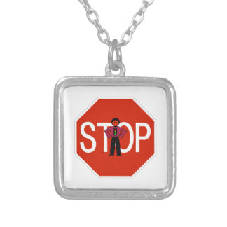 Red Ron Stop Sign Silver Plated Necklace